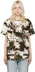 Off White Green And Brown Camouflage T Shirt