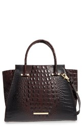 Brahmin 'Priscilla' Croc Embossed Leather Satchel Brown Cocoa