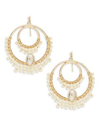 Theodora And Callum Beaded Chandelier Earrings White