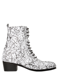 Memento Duo Crickle Leather Lace Up Ankle Boots White