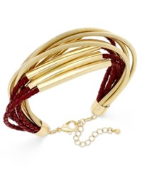 Inc International Concepts Gold Tone Leather And Coil Bracelet Only At Macy's Merlot