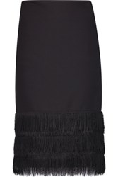 Sandro Jane Fringed Crepe Skirt Black