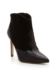 Sam Edelman Bradley Leather And Suede Stiletto Booties Black