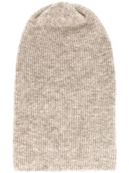 Roberto Collina Ribbed Beanie Nude And Neutrals