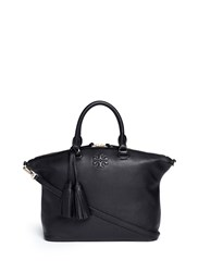 Tory Burch 'Thea' Medium Slouchy Leather Satchel Black