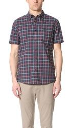 Rvca That'll Do Plaid Oxford Shirt Dark Denim Blue Black