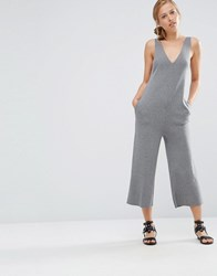 Warehouse Dunagree Cullotte Jumpsuit Charcoal Grey