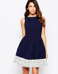 Closet Fit And Flare Dress With Lace Hem Navy And White