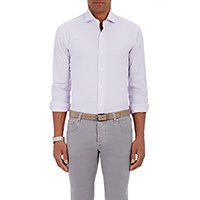 Barba Men's Checked Poplin Shirt Light Purple