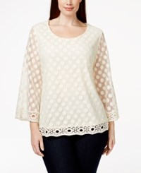 Styleandco. Style And Co. Plus Size Three Quarter Sleeve Polka Dot Top Only At Macy's