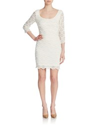 Guess Scalloped Fringe Bodycon Dress Ivory