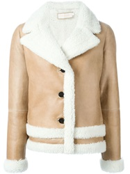 Tory Burch Shearling Jacket Nude And Neutrals