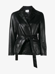 Ganni Passion Wrap Leather Jacket Black