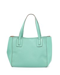 Neiman Marcus Perforated Small Tote Bag Mint