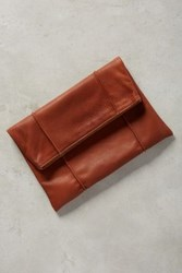 Anthropologie Tucked Foldover Clutch Brown