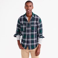 J.Crew Wallace And Barnes Heavyweight Flannel Shirt In Green Check