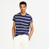 J.Crew Textured Cotton Pocket T Shirt In Navy Stripe