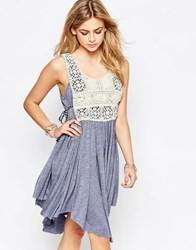 Hazel Embroidered Bib Front Mini Dress In Blue Denim