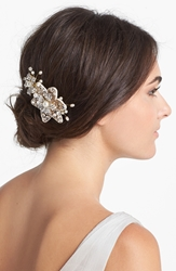 Halo And Co 'Ferrara' Crystal Flower Comb Gold