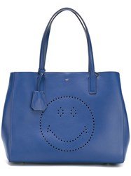 Anya Hindmarch 'Ebury' Smiley Shopper Blue