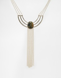 Asos Cage Detail Bib Necklace With Semi Precious Stone Gold