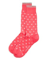 Calvin Klein Striped Dot Crew Socks Punch Pink