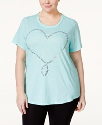 Styleandco. Style And Co. Plus Size Heart T Shirt Only At Macy's Pacific Aqua