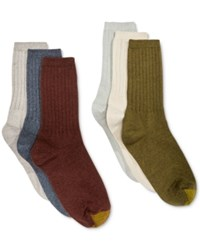 Gold Toe Women's Ribbed Crew 6 Pack Socks Blue