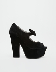 Truffle Collection Dana Platform Bow Heeled Shoes Blacksuede