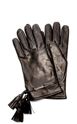 Imoni Navy Mysterioso Nappa Leather Gloves With Tassels Black