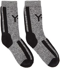 Y 3 Black And White Logo Socks
