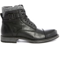 Jack And Jones Jjalbany Black Leather Laced Boots