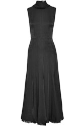 Gabriela Hearst Ida Herringbone Woven Turtleneck Maxi Dress Black