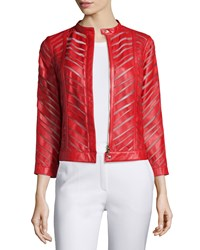 Escada Zip Front Laser Cut Leather Jacket Cherry Red