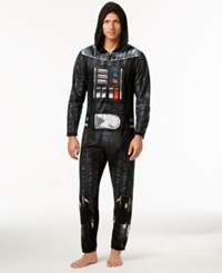 Briefly Stated Star Wars Men's Darth Vader Hooded Jumpsuit Pajamas From Black