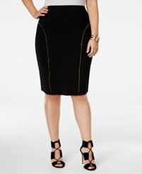 Poetic Justice Trendy Plus Size Zipper Trim Pencil Skirt Black