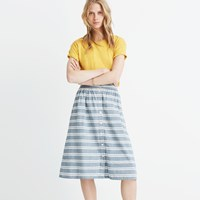 Madewell Striped Button Front Midi Skirt