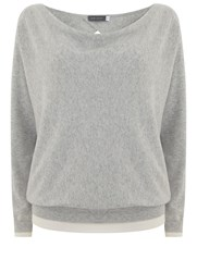 Mint Velvet Silver Grey Wrap Back Batwing Knit Multi Coloured