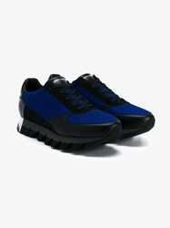 Dolce And Gabbana Leather Mesh Sneakers Black Blue Silver Denim
