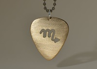 14K Gold Guitar Pick Necklace With Cut Out Zodiac By Nicilaskin