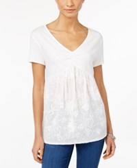 Styleandco. Style Co. Embroidered Short Sleeve Top Only At Macy's Winter White