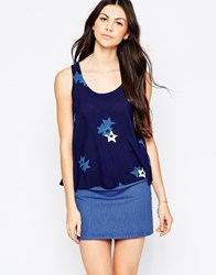 See By Chloe Swing Tank With Star Print Navy