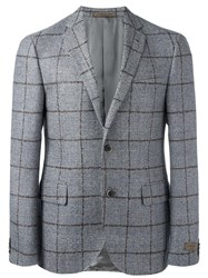 Corneliani Checked Blazer Jacket Grey