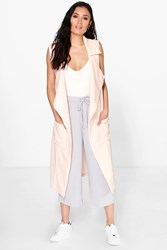 Boohoo Sleeveless Belted Trench Nude