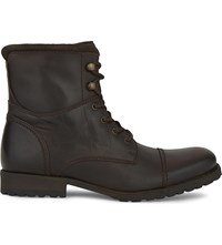 Aldo Lemond Leather Biker Boots Dark Brown