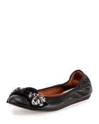 Lanvin Jeweled Leather Ballerina Flat Black Size 38.5B 8.5B