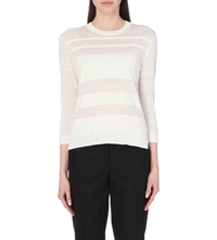 Theory Rainee Sheer Panel Knitted Jumper Off White