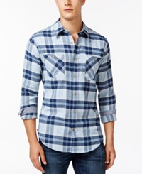 Weatherproof Long Sleeve Plaid Brushed Flannel Shirt Light Blue