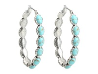 Lucky Brand Oblong Turquoise Inlay Hoop Earring Turquoise Earring Blue