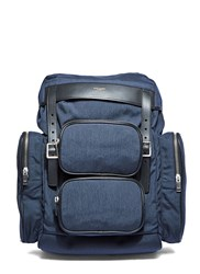 Saint Laurent Delave Multi Pocket Canvas Backpack Navy